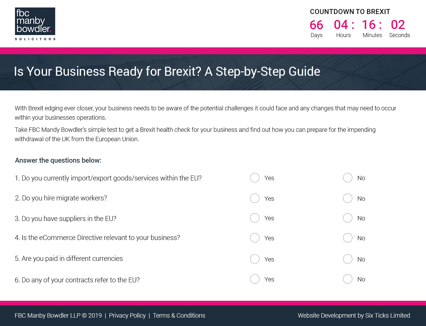 Six Ticks Features Help FBC Manby Bowdler Clients to Brexitproof their Businesses
