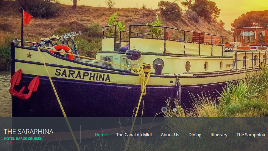 All aboard Barge Saraphina's new website